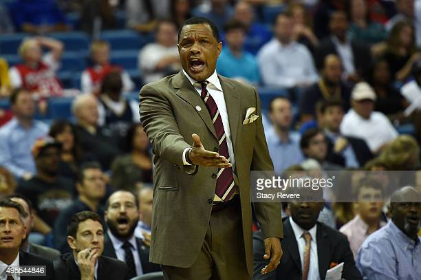 Head coach Alvin Gentry of the New Orleans Pelicans reacts to an official's call during the first half of a game against the Orlando Magic at the...
