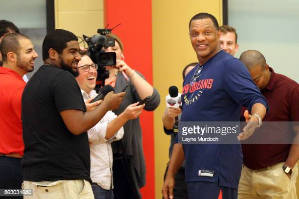 Head coach Alvin Gentry of the New Orleans Pelicans speaks to the media after his team held a practice on October 11 2017 at the the Ochsner Sports...