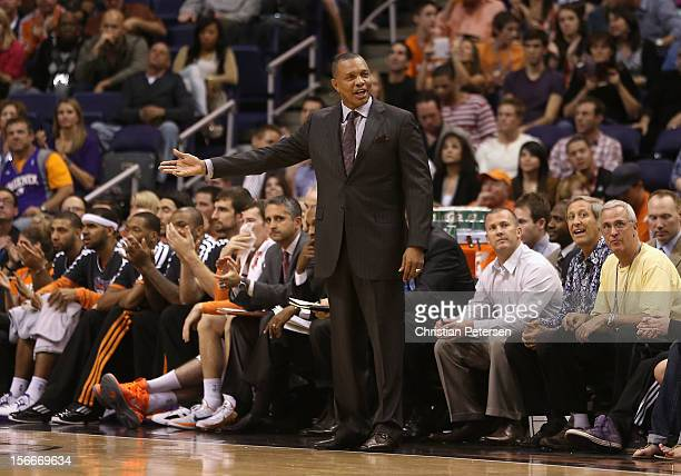 Head coach Alvin Gentry of the Phoenix Suns reacts during the NBA game against the Miami Heat at US Airways Center on November 17 2012 in Phoenix...