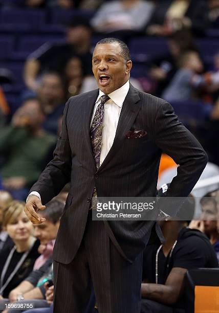 Head coach Alvin Gentry of the Phoenix Suns reacts during the NBA game against the Milwaukee Bucks at US Airways Center on January 17 2013 in Phoenix...