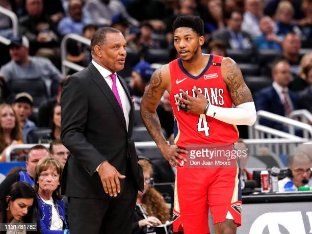 Head Coach Alvin Gentry talk with Elfrid Payton of the New Orlean Pelicans during the game against the Orlando Magic at the Amway Center on March 20...