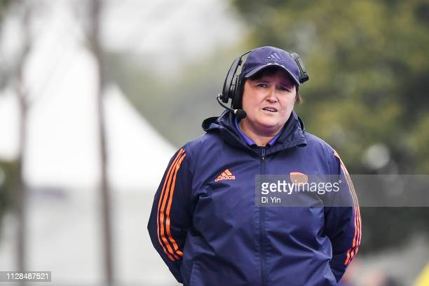 Head coach Alyson Annan of Netherlands reacts during the Women's FIH Field Hockey Pro League match between China and Netherlands at on March 3 2019...