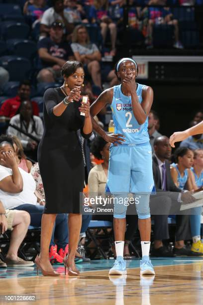 Head Coach Amber Stocks and Kahleah Copper of the Chicago Sky talk during the game against the Seattle Storm on July 18 2018 at the Wintrust Arena in...