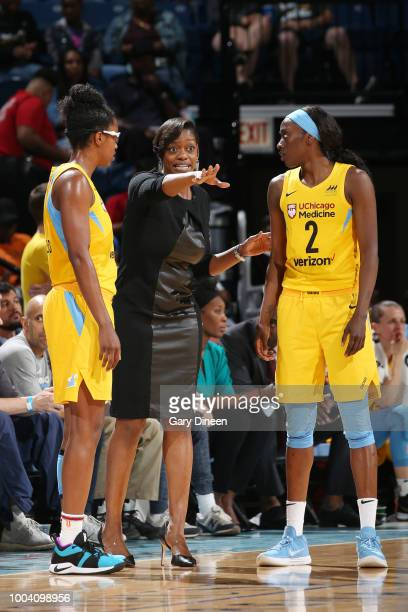 Head Coach Amber Stocks of the Chicago Sky directs her team during the game against the Los Angeles Sparks on July 22 2018 at the Wintrust Arena in...