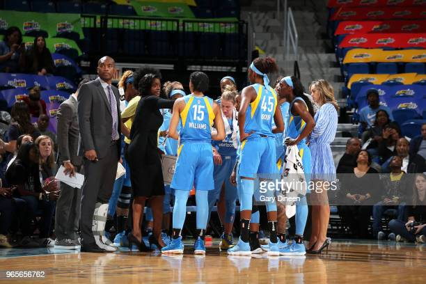 Head Coach Amber Stocks of the Chicago Sky leads a huddle during the game against the Connecticut Sun on June 1 2018 at the Wintrust Arena in Chicago...