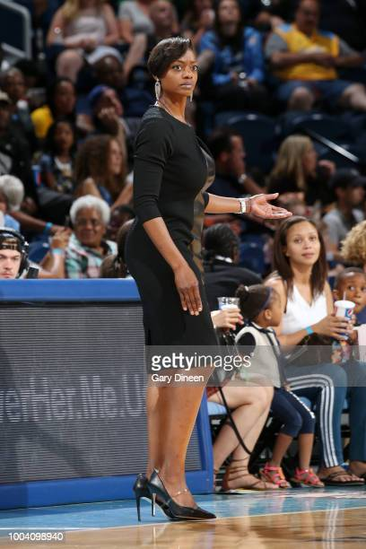 Head Coach Amber Stocks of the Chicago Sky looks on during the game against the Los Angeles Sparks on July 22 2018 at the Wintrust Arena in Chicago...