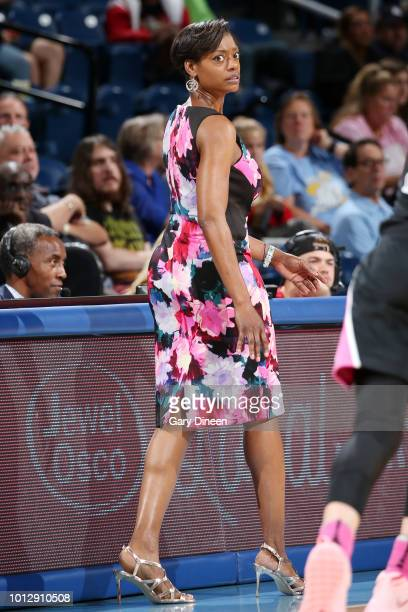 Head Coach Amber Stocks of the Chicago Sky looks on during the game against the Minnesota Lynx on August 7 2018 at the Wintrust Arena in Chicago...