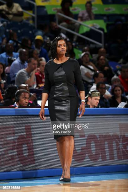 Head Coach Amber Stocks of the Chicago Sky looks on during the game against the Connecticut Sun on June 1 2018 at the Wintrust Arena in Chicago...