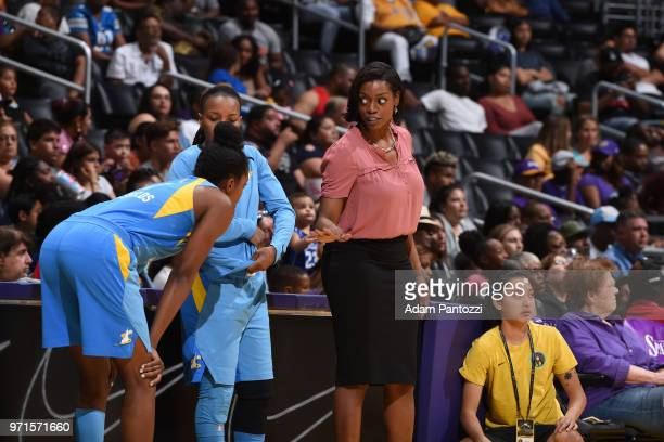 Head Coach Amber Stocks of the Chicago Sky looks on during the game against the Los Angeles Sparks on June 10 2018 at STAPLES Center in Los Angeles...
