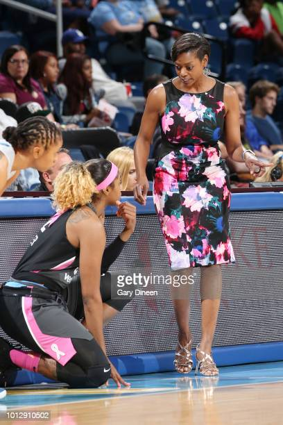 Head Coach Amber Stocks of the Chicago Sky speaks with forward Cheyenne Parker during the game against the Minnesota Lynx on August 7 2018 at the...
