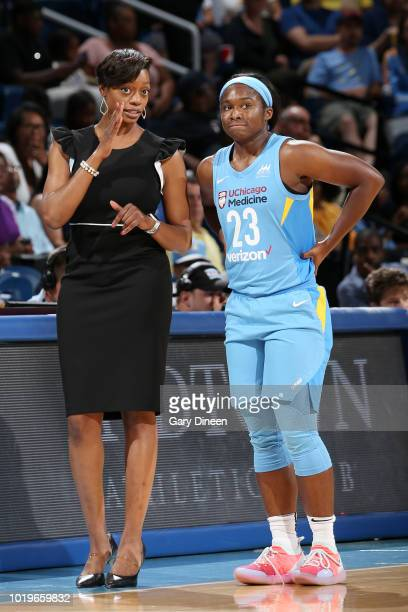 Head Coach Amber Stocks speaks with guard Linnae Harper of the Chicago Sky during the game against the Indiana Fever on August 19 2018 at the...