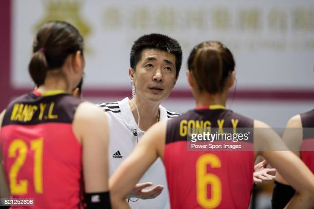 Head coach An Jiajie of China gives instruction to players during the FIVB Volleyball World Grand Prix Hong Kong 2017 match between China and Serbia...