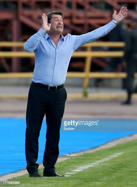 Head coach Anatoli Davydov of FC Tom Tomsk gestures during the Russian Premier League match between FC Tom Tomsk and PFC CSKA Moscow at Trud Stadium...