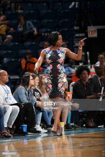 Head coach and General Manager Amber Stocks of the Chicago Sky reacts during game against the Las Vegas Aces on June 3 2018 at the Wintrust Arena in...
