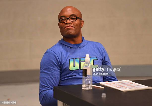 Head coach Anderson Silva judges the fights during the TUF Brazil season four elimination fights at the UFC Training Center on February 2 2015 in Las...