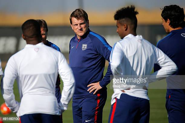 Head coach Andi Herzog of the United States under23 national team directs a training session ahead of the 2015 CONCACAF Olympic Qualifying group play...