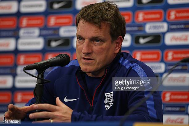 Head coach Andi Herzog of the United States under23 national team addresses the media during a press conference ahead of the 2015 CONCACAF Olympic...