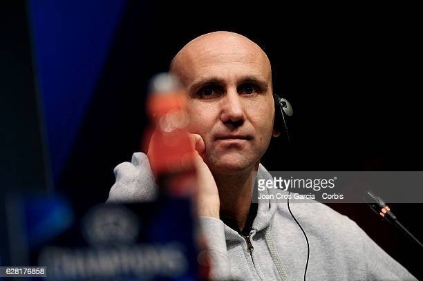 Head Coach André Schubert attends the press at the Camp Not stadium, before the UEFA Champions League match between F.C Barcelona and Borussia...