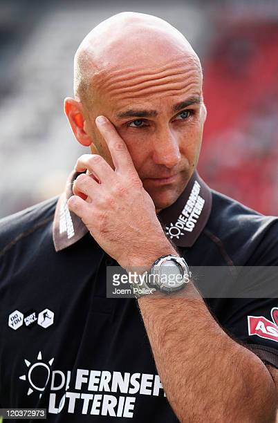 Head coach André Schubert of Hamburg is seen prior to the Second Bundesliga match between FC St. Pauli and Alemannia Aachen at Millerntor Stadium on...