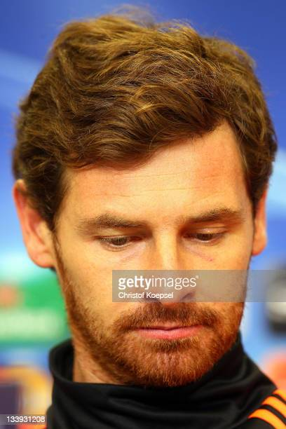 Head coach André Villas-Boas attends the Chelsea FC press conference at BayArena on November 22, 2011 in Leverkusen, Germany.