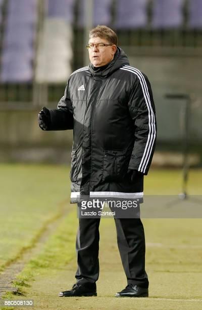 Head coach Andras Herczeg of DVSC reacts during the Hungarian OTP Bank Liga match between Vasas FC and DVSC at Ferenc Szusza Stadium on November 25...