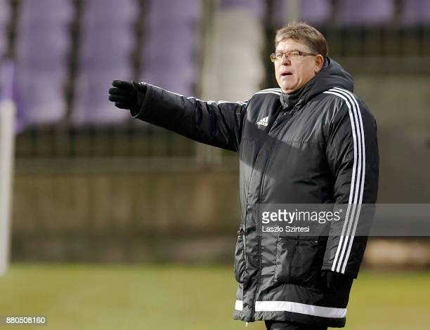 Head coach Andras Herczeg of DVSC reacts during the Hungarian OTP Bank Liga match between Vasas FC and DVSC at Ferenc Szusza Stadium on November 25...
