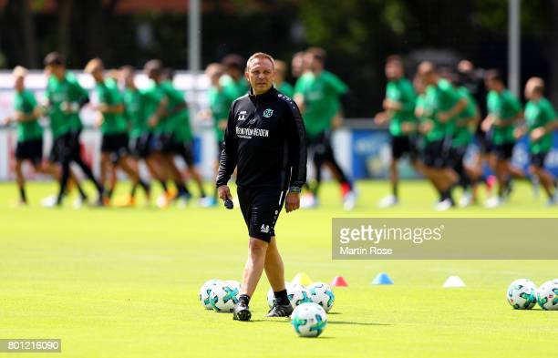 Head coach Andre Breitenreiter looks on during a Hannover 96 training session at HDIArena on June 26 2017 in Hanover Germany
