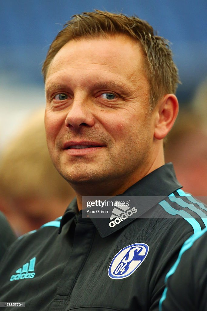 Head coach Andre Breitenreiter looks on during the general assembly of FC Schalke 04 at Veltins-Arena on June 28, 2015 in Gelsenkirchen, Germany.