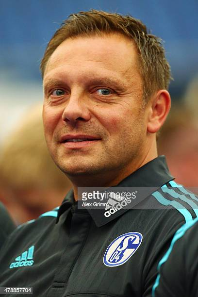 Head coach Andre Breitenreiter looks on during the general assembly of FC Schalke 04 at VeltinsArena on June 28 2015 in Gelsenkirchen Germany