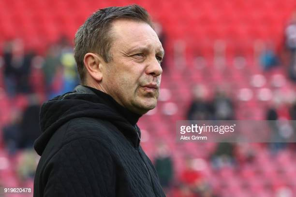 Head coach Andre Breitenreiter of Hannover looks on prior to the Bundesliga match between 1 FC Koeln and Hannover 96 at RheinEnergieStadion on...