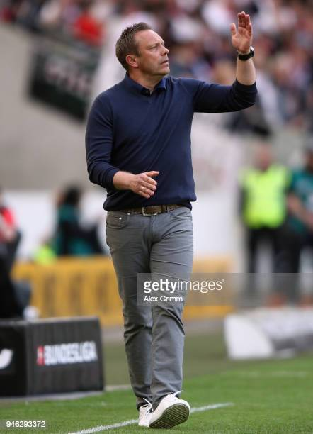 Head coach Andre Breitenreiter of Hannover reacts during the Bundesliga match between VfB Stuttgart and Hannover 96 at MercedesBenz Arena on April 14...