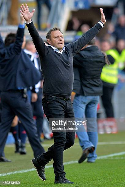 Head coach Andre Breitenreiter of Paderborn reacts after winning the Bundesliga match against FC Augsburg at Benteler Arena on April 11 2015 in...
