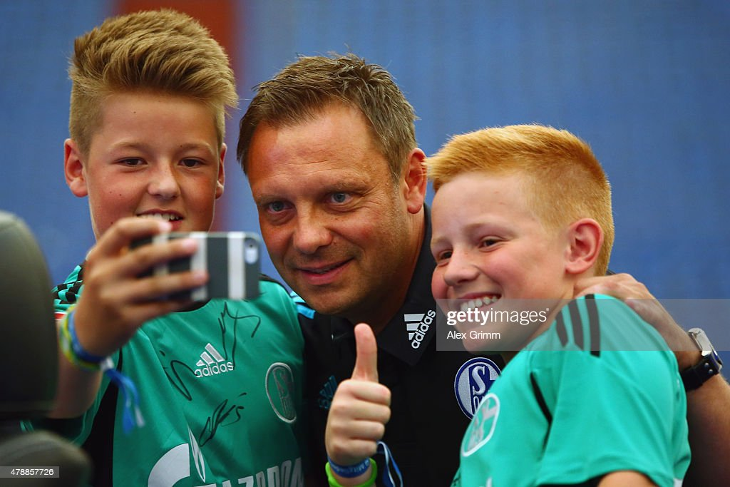 Head coach Andre Breitenreiter poses with fans during the general assembly of FC Schalke 04 at Veltins-Arena on June 28, 2015 in Gelsenkirchen, Germany.