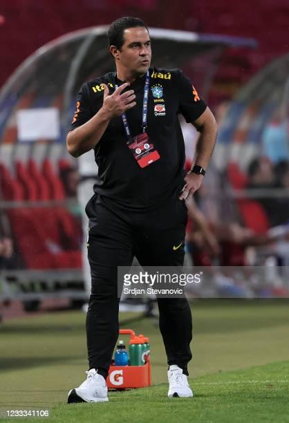 Head coach Andre Jardine of Brazil reacts during the International football friendly match between Serbia U21 and Brazil U23 at stadium Rajko Mitic...