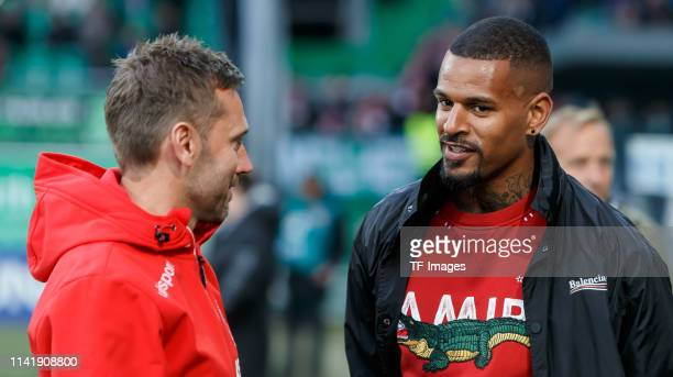 Head coach Andre Pawlak of 1 FC Koeln and Daniel KeitaRuel of Greuther Fuerth during the Second Bundesliga match between SpVgg Greuther Fuerth and 1...