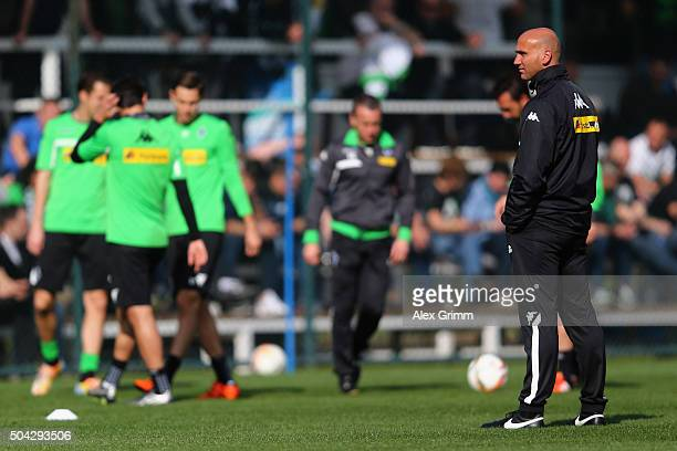 Head coach Andre Schubert looks on during a Borussia Moenchengladbach training session on day 5 of the Bundesliga Belek training camps at Maxx Royal...