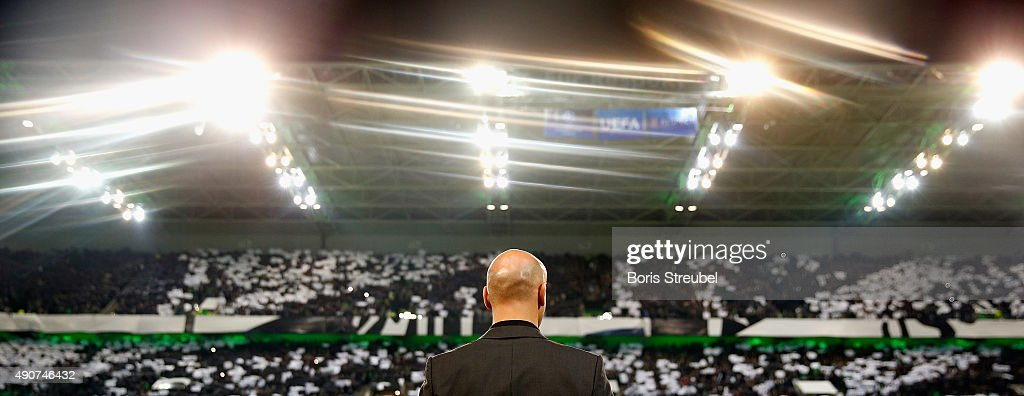 Head coach Andre Schubert of Borussia Monchengladbach looks on during the UEFA Champions League Group D match between VfL Borussia Monchengladbach and Manchester City at the Borussia Park on September 30, 2015 in Moenchengladbach, Germany.