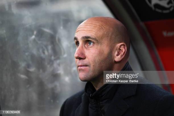 Head coach Andre Schubert of Eintracht Braunschweig looks on prior to the 3. Liga match between 1. FC Kaiserslautern and Eintracht Braunschweig at...