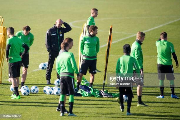 Head coach Andre Schubert of German Bundesliga soccer club Borussia Moenchengladbach leads the final practice session in Moenchengladbach, Germany,...