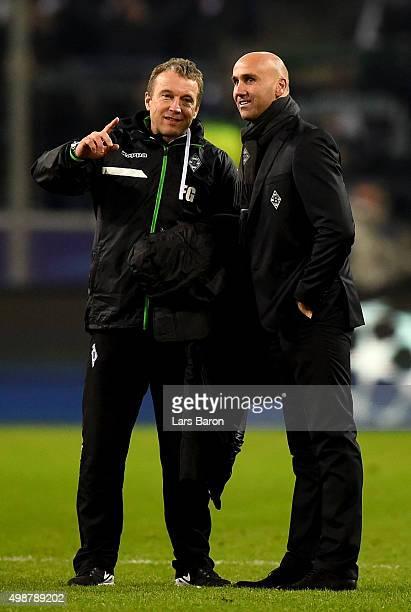 Head coach Andre Schubert of Moenchengladbach is seen after winning the UEFA Champions League Group D match between Borussia Moenchengladbach and...