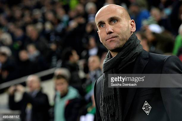 Head coach Andre Schubert of Moenchengladbach looks on prior to the UEFA Champions League group stage match between VfL Borussia Monchengladbach and...