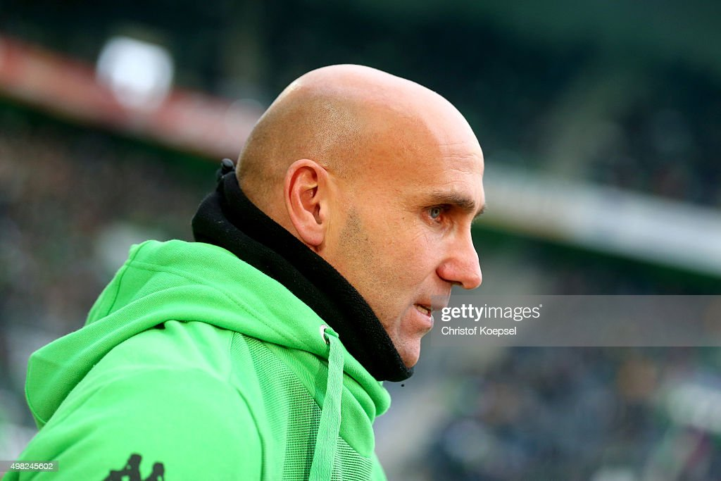 Head coach Andre Schubert of Moenchengladbach looks on prior to the Bundesliga match between Borussia Moenchengladbach and Hannover 96 at Borussia-Park on November 21, 2015 in Moenchengladbach, Germany.