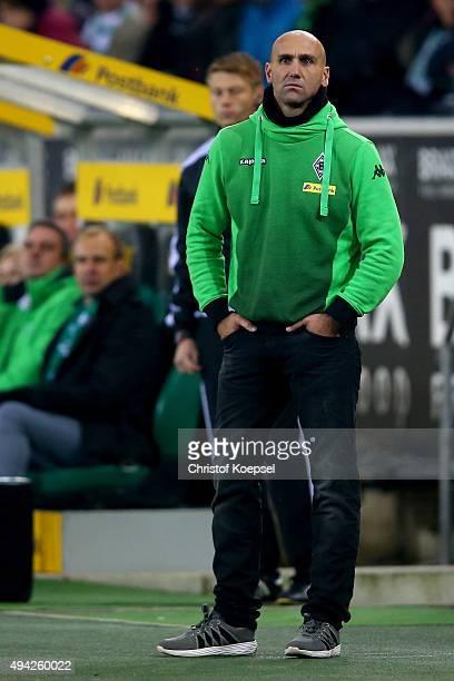Head coach Andre Schubert of Moenchengladbach looks thoughtful during the Bundesliga match between Borussia Moenchengladbach and FC Schalke 04 at...
