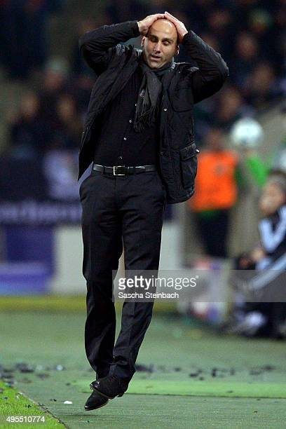 Head coach Andre Schubert of Moenchengladbach reacts during the UEFA Champions League group stage match between VfL Borussia Monchengladbach and...