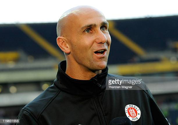 Head coach Andre Schubert of St. Pauli looks on priot to the Second Bundesliga match between Eintracht Frankfurt and FC St. Pauli at Commerzbank...