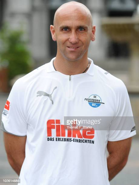 Head coach Andre Schubert poses during the Second Bundesliga Team Presentation of SC Paderborn at the town hall on July 4, 2010 in Paderborn, Germany.