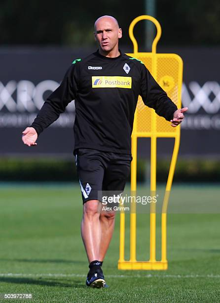 Head coach Andre Schubert reacts during a Borussia Moenchengladbach training session on day 3 of the Bundesliga Belek training camps at Maxx Royal...