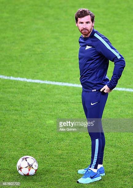 Head coach Andre VillasBoas attends a FC Zenit training session ahead of their UEFA Champions League Group C match against Bayer Leverkusen at...