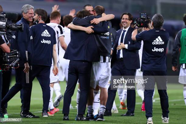 Head coach Andrea Pirlo of Juventus Fc and Giorgio Chiellini of Juventus Fc and Leonardo Bonucci of Juventus Fc celebrate after winning during the...