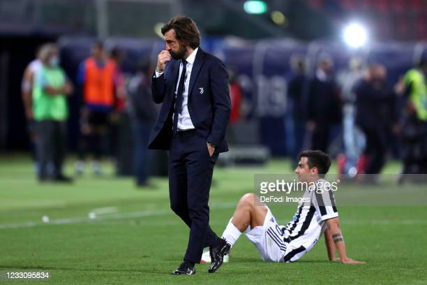 Head coach Andrea Pirlo of Juventus Fc look on during the Serie A match between Bologna FC and Juventus at Stadio Renato Dall'Ara on May 23, 2021 in...